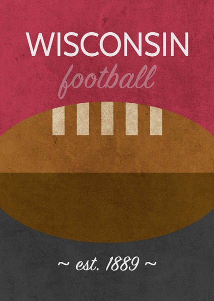 Wall Art - Mixed Media - Wisconsin Football Minimalist Retro Sports Poster Series 015 by Design Turnpike