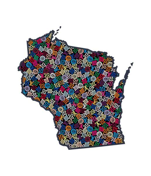 Wi Wall Art - Painting - Wisconsin Map - 1 by Nikita