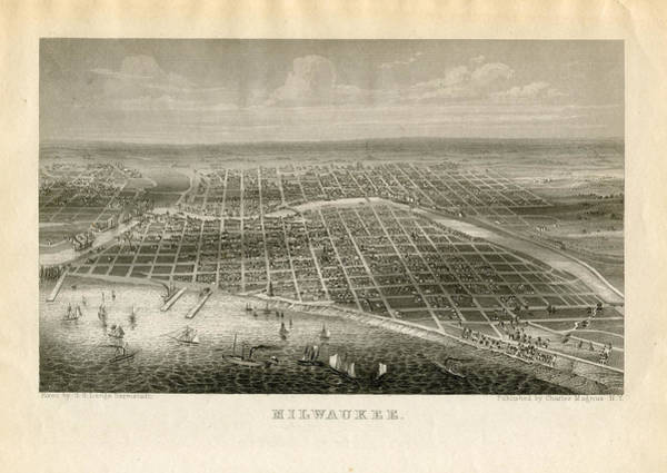 Aerial View Digital Art - Wisconsin, Milwaukee 1850 To 1899 Birds by Historic Map Works Llc