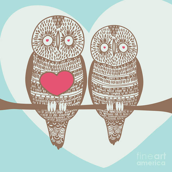 Celebration Digital Art - Wise Owl Couple On Tree Branch Under by Stopitnow