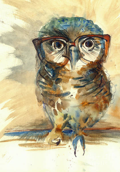 Wall Art - Digital Art - Wise Owl With Big Eyes In Hipster by Marianna fedorova