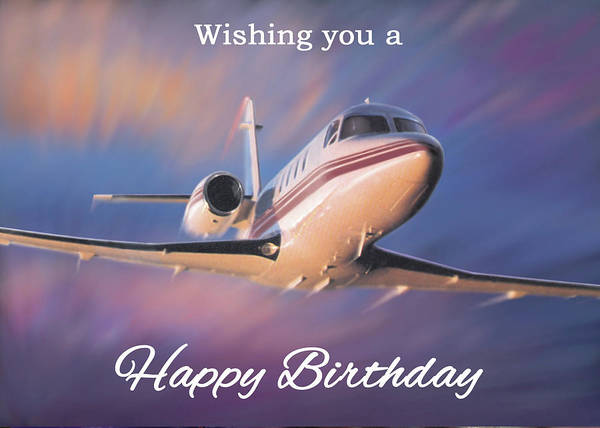 Wall Art - Digital Art - Wishing You A Happy Birthday Greeting Card - Jet Airplane Flying by Walt Curlee