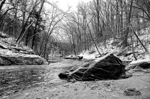 Photograph - Wissahickon Creek In Winter In Black And White by Bill Cannon