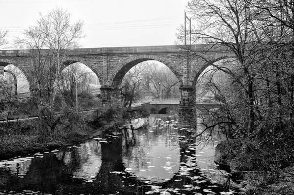 Wall Art - Photograph - Wissahickon Creek - Reading Viaduct In Black And White by Bill Cannon