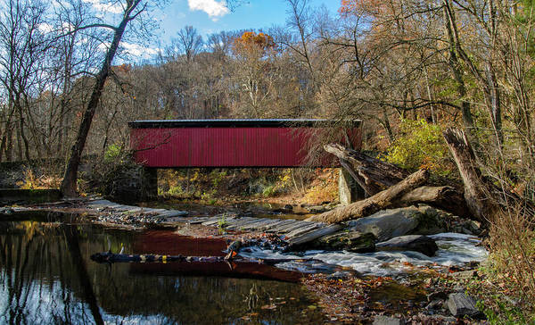 Wall Art - Photograph - Wissahickon Creek - Thomas Mill  Bridge In Autumn by Bill Cannon