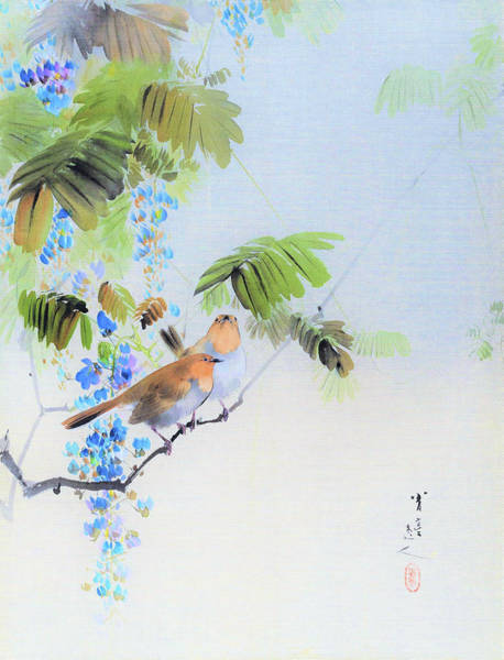 Wall Art - Painting - Wisteria Flowers And Birds - Digital Remastered Edition by Watanabe Seitei