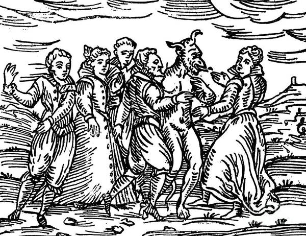 Wall Art - Drawing - Witches Dancing With The Devil, Illustration From Compendium Maleficarum by Italian School