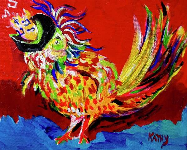 Wall Art - Painting - Chicken Jazz by Kathy Hauge