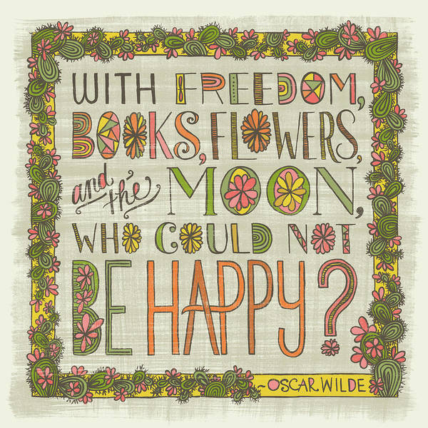 Painting - With Freedom Books Flowers And The Moon Who Could Not Be Happy by Jen Montgomery