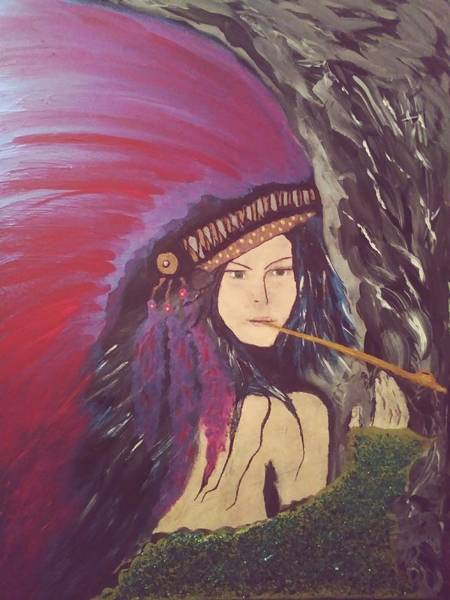 Wall Art - Painting - With Her Peace Pipe by Tamie Atkinson