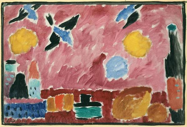Wall Art - Painting - With Red Swallow Patterned Wallpaper        by Alexej von Jawlensky