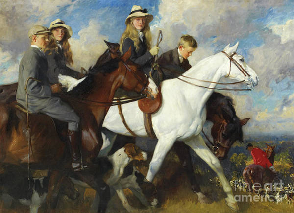 Wall Art - Painting - With The York And Ainsty, The Children Of Mr Edward Lycett Green by Charles Wellington Furse