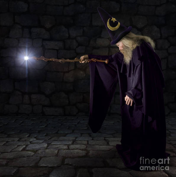 Wall Art - Photograph - Wizard In A Purple Robe And Wizard Hat by James Steidl