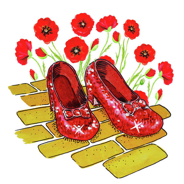 Wall Art - Painting - Wizard Of Oz Ruby Shoes And Red Poppies by Irina Sztukowski