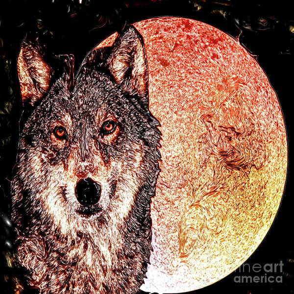 Best New Artist Digital Art - Wolf And The Moon by Free Spirit