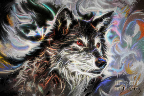3rd Eye Mixed Media - Wolf Animal Totem No2 by Alex Thomas