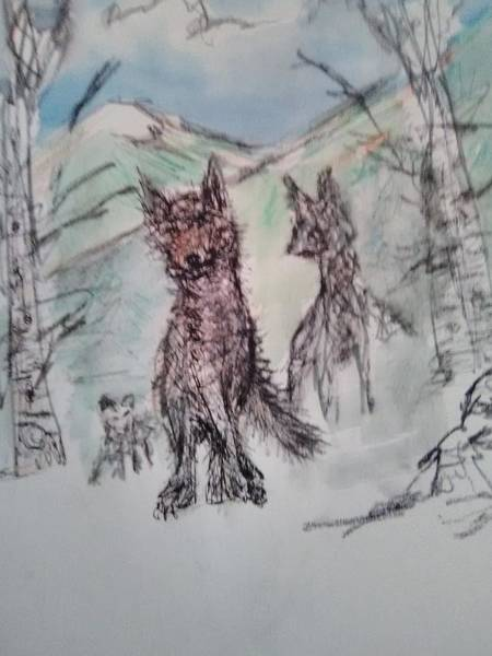 David Floodstrand Wall Art - Painting - Wolf Family by David Floodstrand