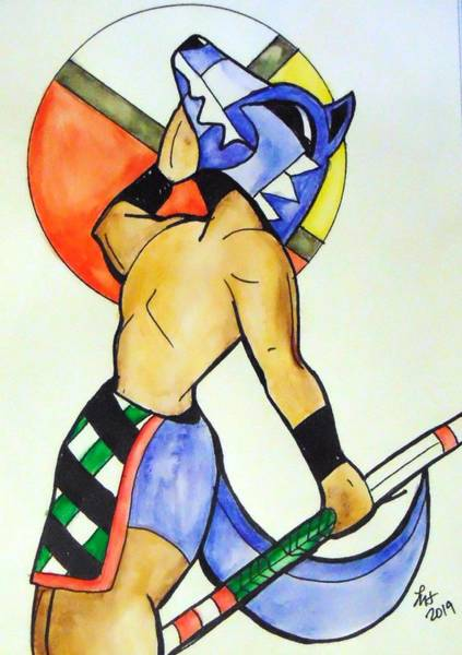 Drawing - Wolf Kachina by Loretta Nash