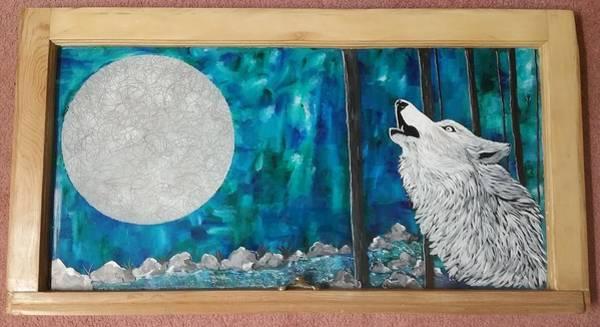 River Scene Mixed Media - Wolf by Kathleen Vehslage