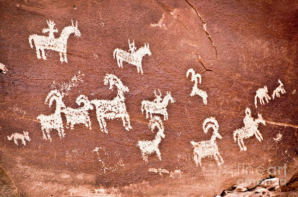 Naive Wall Art - Photograph - Wolfe Ranch Petroglyphs by Delphimages Photo Creations