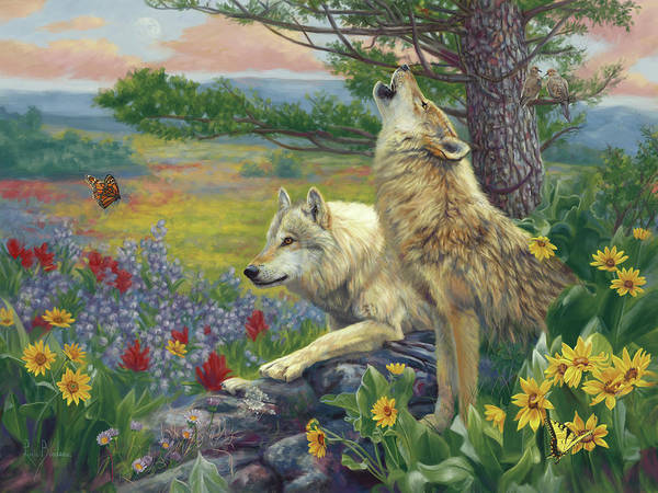 Wall Art - Painting - Wolves In The Spring by Lucie Bilodeau