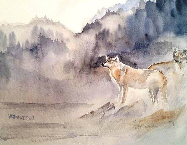 Painting - Wolves On Guard by Larry Hamilton