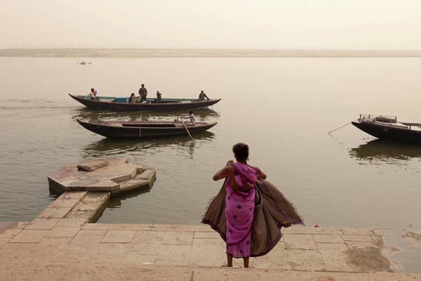 Woman And Boats By The Ganges River In Art Print