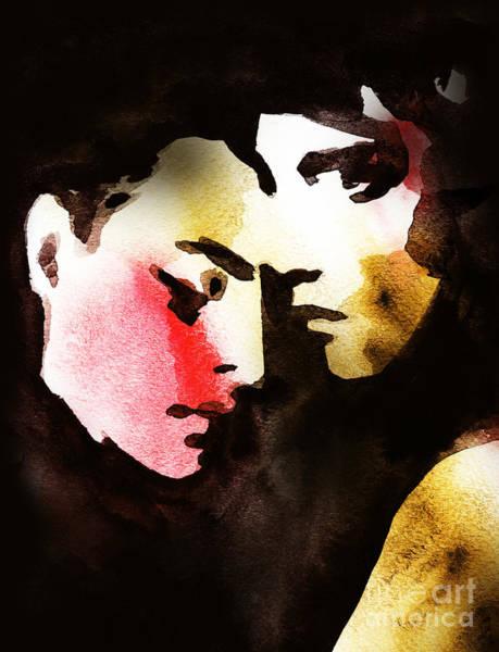Face Paint Wall Art - Digital Art - Woman And Man .abstract Watercolor by Anna Ismagilova