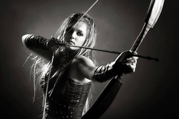 Gloves Photograph - Woman Archer Aiming Arrow by Johan Swanepoel