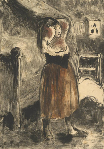 Relief - Woman Arranging Her Hair by Camille Pissarro