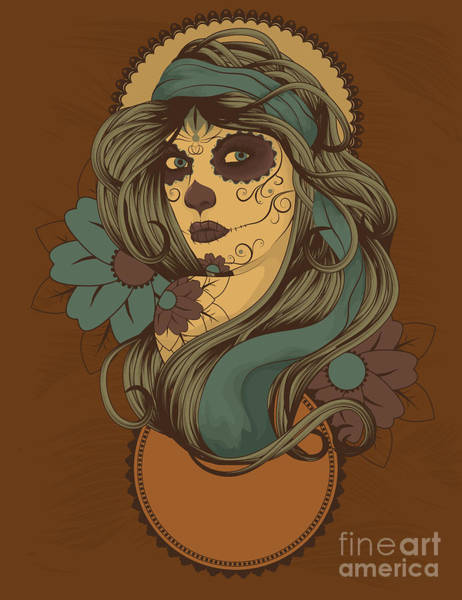 Wall Art - Digital Art - Woman As Sugar Skull With Detailed Hair by Transfuchsian
