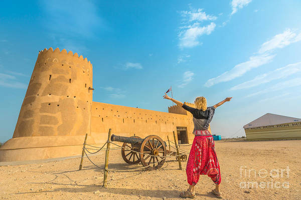 Photograph - Woman At Al Zubara Fort by Benny Marty