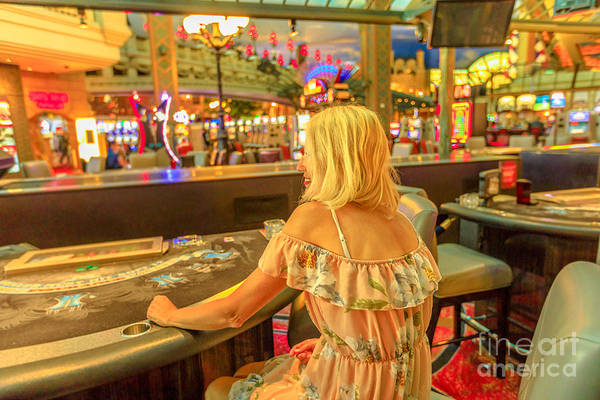 Photograph - Woman At Blackjack Table by Benny Marty