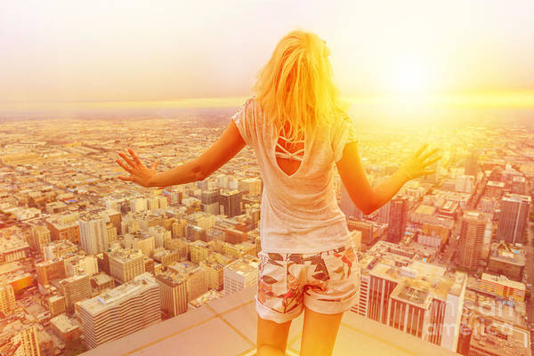 Photograph - Woman At Los Angeles Skyline by Benny Marty