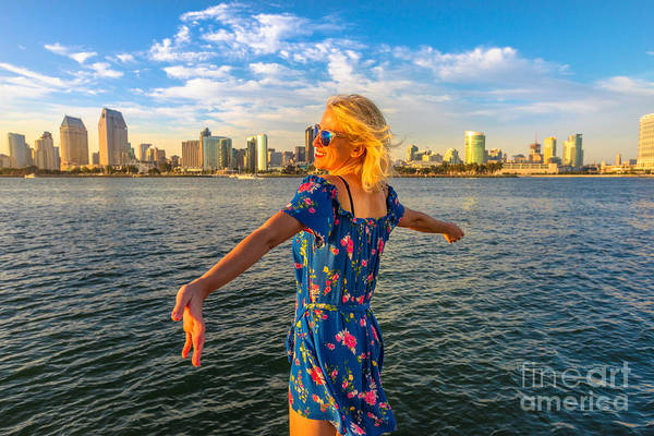 Photograph - Woman At San Diego Skyline by Benny Marty