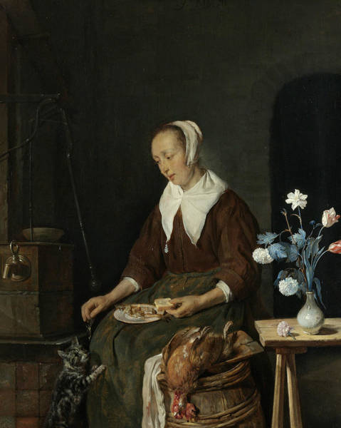 Wall Art - Painting - Woman At The Meal, Known As The Breakfast Of The Cat by Gabriel Metsu