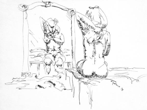 Drawing - Woman Bathing by Dave Martsolf