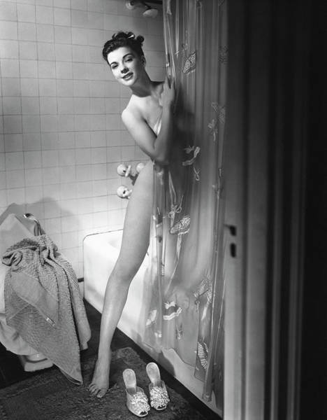 Shower Curtain Photograph - Woman Behind Shower Curtain by George Marks