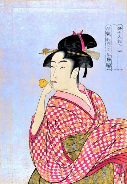 Wall Art - Painting - Woman Blowing Poppin - Digital Remastered Edition by Kitagawa Utamaro