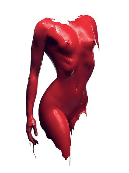 Glossy Photograph - Woman Body Red Paint by Johan Swanepoel