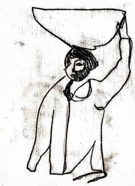 Drawing - Woman Carrying A Basket On Her Head 2 by Artist Dot