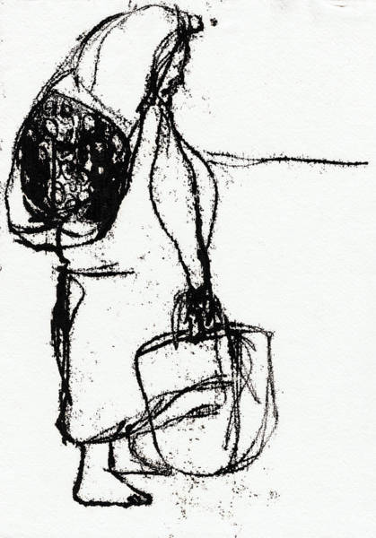 Drawing - Woman Carrying Bags by Artist Dot