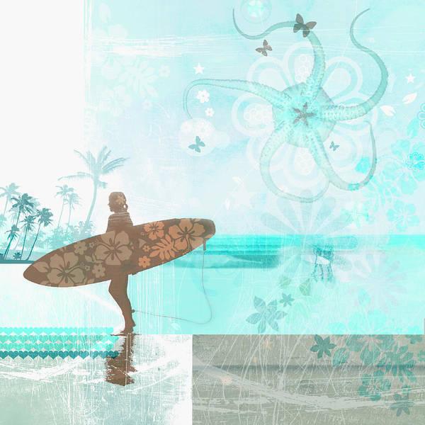 Digital Illustration Digital Art - Woman Carrying Surfboard On Tropical by Emma Griffin