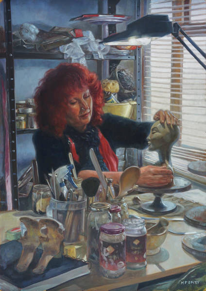Wall Art - Painting - Woman Ceramicist At Work In Her Studio by Martin Davey
