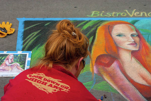 Wall Art - Photograph - Woman Chalking Woman by Beth Partin