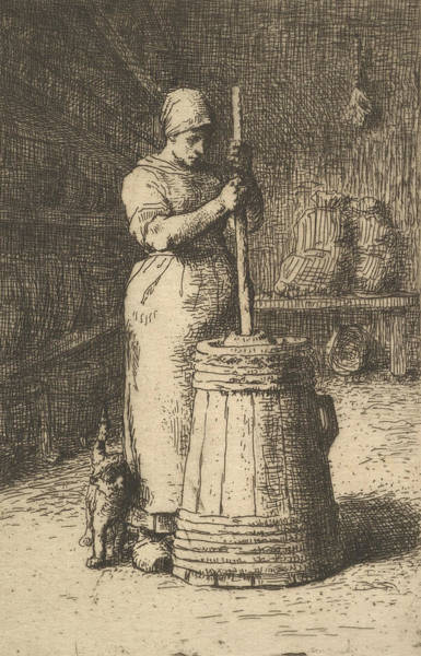 Relief - Woman Churning Butter by Jean-Francois Millet