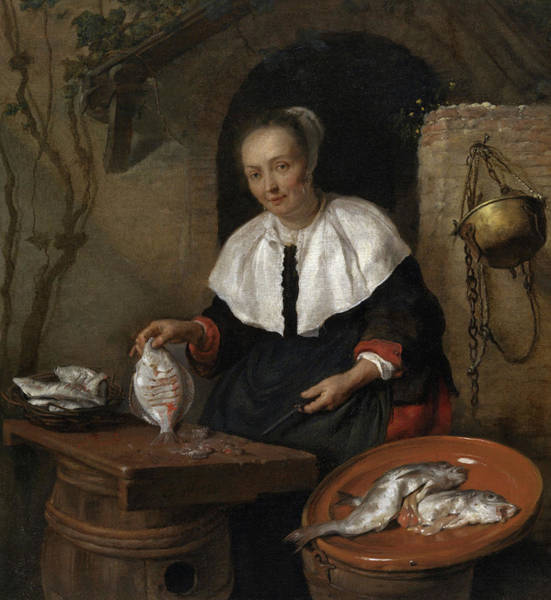 Gabriel Painting - Woman Cleaning Fish by Gabriel Metsu