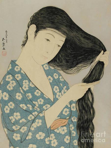 Wall Art - Painting - Woman Combing Her Hair, Taisho Era, March 1920 by Goyo Hashiguchi