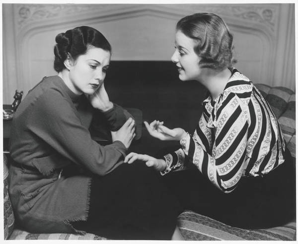 Introspection Photograph - Woman Consoling Friend At Fireplace, B&w by George Marks