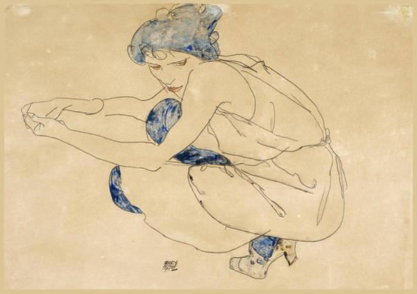 Wall Art - Drawing - Woman Crouching by Egon Schiele